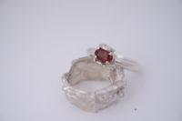 Unique Red Spinel alternative engagement ring one of a kind